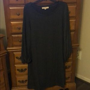 Charcoal gray long sleeved dress
